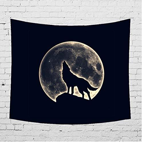 ignbaa Night Sky Moon Tapisserie Wandbehang Meerjungfrau Wolf Einhorn Shadow Hippie Home Decor Mandala Wandbehang Teppich Stoff-150CM×130CM (Karten Spielen Night Sky)