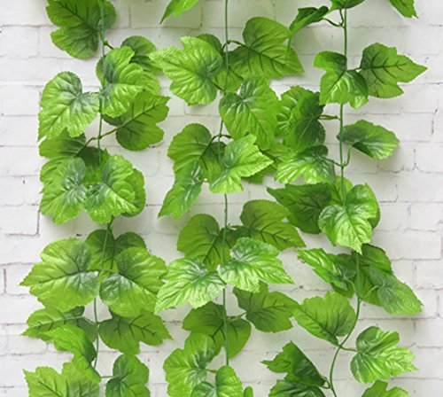 2PCS 2,4m Künstliche Hängepflanze Vine Fake Weinblätter Home Garden Wanddekoration