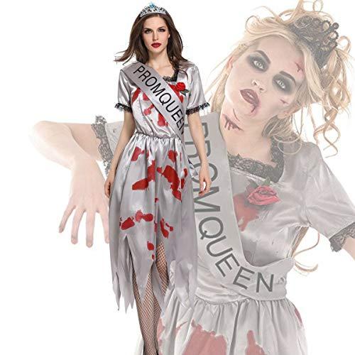 Halloween Cosplay Kostüm Erwachsene Cosplay Geist Braut Zombie Vampir Make-Up Party Kleid Bühne Persönlichkeit Scary Kleidung Kostüm Geeignet Für Karneval Thema Parteien,White,XL