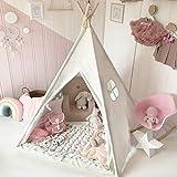 Tiny Land® Tenda Gioco Bambina Teepee Indiano per Bambini in Tela di Cotone con Stuoia e Borsa per il Trasporto Bianco sporco Alto 1,6 m