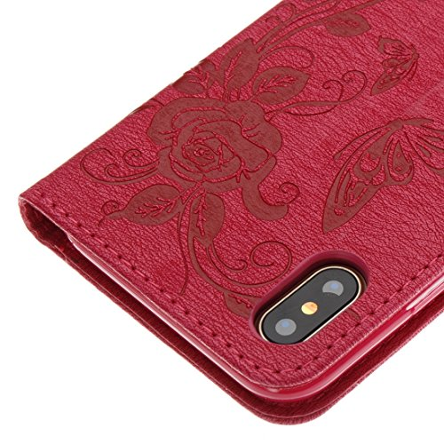 iPhone x custodia a portafoglio, Ledowp Apple iPhone x Premium custodia a portafoglio in pelle PU, Full Body farfalla modello design custodia magnetica staccabile slot schede PU Flip Cover per iPhone  Light Red