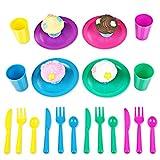 Peradix Cucina Bambini Set Accessori Piatti Cupcake Tazzine Giocattolo Giochi Imitazione 24 Pezzi