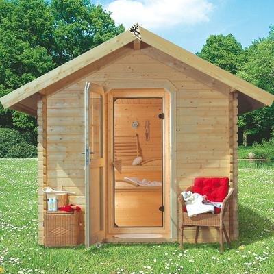 Karibu Saunahaus 2 38 mm inkl. Sauna und Vorraum Außenmaß Haus (B x T): 247 x 273 cm Innenmaß Sauna (B x T): 225 x 174 cm Wandstärke Haus: 38 mm umbauter Raum: 13,6 cbm Bauweise: Blockbohlenbauweise Ausführung: naturbelassen