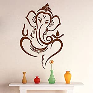 Brown Extra Large Pvc Vinyl Lord Ganesha Wall Sticker Art Decal Online Home D Cor India Amazon