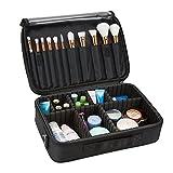 Hotrose 4 Schichten Kleine Kosmetiktasche Professionelle Makeup Box Mit 2 Schulterriemen(Schwarz 34.5*24*11CM)