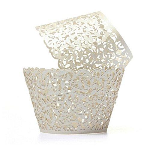 rs Hochzeit Cupcake Dekoration Geburtstag Baby Baby-Dusche wickeln 50-Pack (cremeweiß) ()