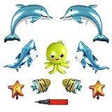 EQLEF Globos Animales, Aluminio Criaturas Marinas Dibujos Animados Tiburón Globo Globos de delfín Pulpo Globo Burbuja Peces Globo Decoración de la Fiesta Suministros - 9 Piezas
