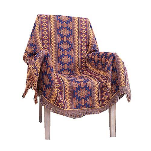 Bunt Indien Böhmischer Stil Tapisserie Teppich, Schön Stammes-Muster Sofa abdecken Tischdecke,Volle Größe Baumwollgewebe Wirf eine Decke Sofatuch,Gesäumte Decke (Lila, 130cm*180cm) (In Bettdecken Voller Größe)
