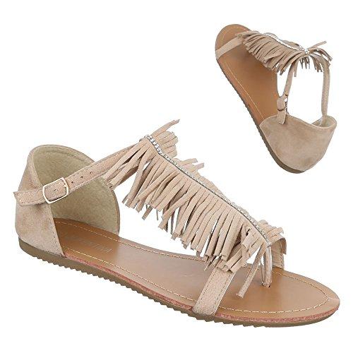 Ital-Design Damen Schuhe, B19L-SF, Sandalen Fransen Zehentrenner Beige