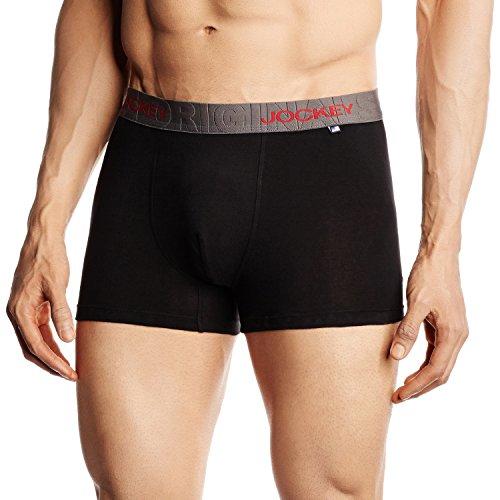 Jockey Men's Cotton Trunks (US60-0110-ASSTD Black M)
