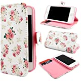 TUTUWEN E49 Flower Wallet PU Leather Stand Flip Case Cover for Apple iPhone 5 5S