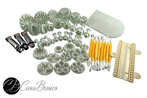 CasaBasics Hochwertiges, 46 Teile - Fondant Set - mit CasaBasics Fondant Rezepte eBook - inkl. Ausstecher, Ausstechform, Auswerfer, Stempel, Modellierwerkzeug, Glätter, Randverzierung ideal für Fondant, Marzipan und Tortendeko