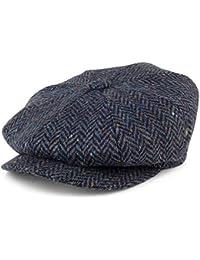 fe6c74c8 City Sports Hats Donegal Tweed Herringbone Newsboy Cap - Blue-Navy