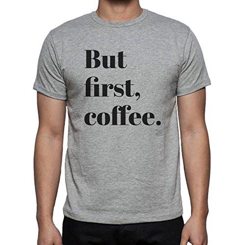 White Black But First Coffee Herren T-Shirt Grau