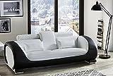 SAM 3-Sitzer Sofa Vigo, weiß / schwarz, Couch aus Kunstleder