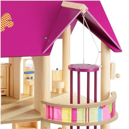 howa Puppenhaus aus Holz incl. 22 tlg. Möbelset und 4 Puppen - 5