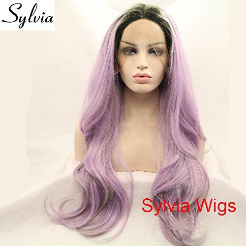Nouvelle arrivée Violet clair ombré Gris Tips Naturel droite Perruque lace front synthétique avec racines foncées résistant à la chaleur Fibre Cheveux
