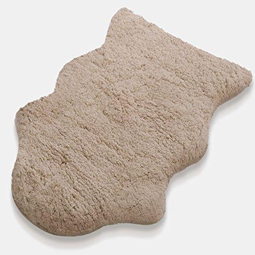 Kunstfell Teppich Maja | extra weich | kuschlig handgetuftet | 100% Polyester | beige | Wohnzimmerteppich / Bettvorleger / Badematte / Stuhlauflage in 2 Größen (60 x 90 cm)