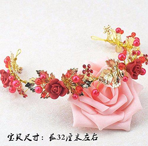 KHSKX-Die Braut Hochzeit Kopfschmuck Rote Keramik - Blume Crystal Pearl Ornamente Koreanische Blüte...