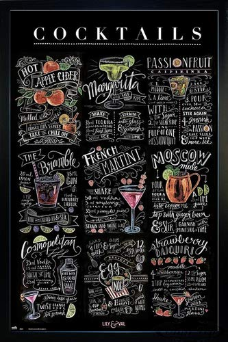 Close Up Lily & Val Poster Cocktails (66x96,5 cm) gerahmt in: Rahmen schwarz