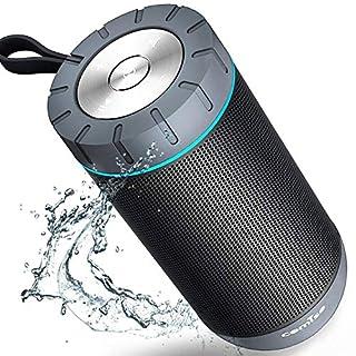 COMISO Wasserdicht Bluetooth Lautsprecher Kabellose Portabler 12W Lautsprecher Box mit 20-Stunden Spielzeit & Dual-Treiber Wireless Speakers mit Mikrofon und Reinem Bass (Grau)