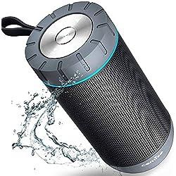 Enceinte Bluetooth, COMISO Haut-Parleur Bluetooth 12W sans Fil Portable, Définition Stéréo, 20 Heures d'Autonomie en Lecture, Mains Libres Téléphone pour iPhone, iPad, Samsung (Gris foncé)