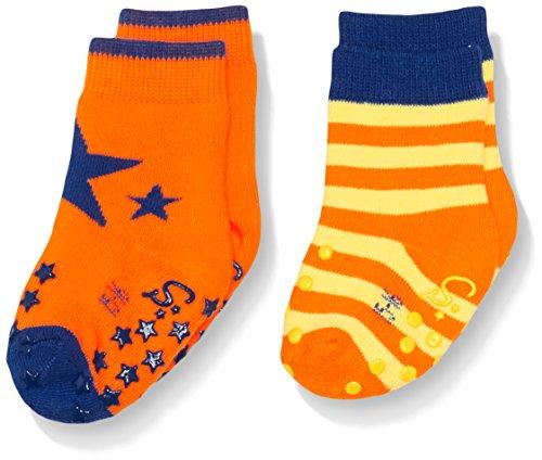 Sterntaler Baby - Jungen Socken ABS - Krabbelsöckchen DP Stern, Gr. 16 (Herstellergröße: 15/16), Orange (neonorange 846)