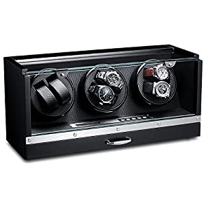 Ferocase Uhrenbeweger FC2125BK für 6 Uhren – schwarz