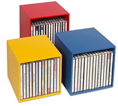 """Neu! CD-BOX \""""cubix-color\"""" - 3 CD-Aufbewahrungsboxen aus Holz. Für bis zu 40 Musik-CDs. Dekorative Holzboxen, ansprechendes Design. Schöner kann man CDs nicht archivieren, sammeln, ordnen."""