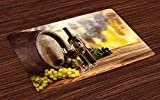 FANCYDAY Tapis de Tapis de vin, Verre de Bouteille de vin Rouge et Blanc sur Un fût en Bois de qualité Traditionnelle, Tissu Lavable pour la Maison, Vert Jaune