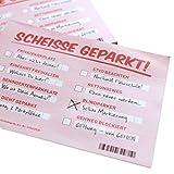 Scheiße geparkt! Lustige Notizzettel mit STVO Verwarnung für die Windschutzscheibe - Fake Knöllchen Strafzettel-Look für Falschparker | extra groß DIN A6 mit 105x148mm!