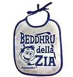 Bavaglino BEDDHRU DELLA ZIA - simpatica bavetta 100% cotone Fermento Italia (Blu)
