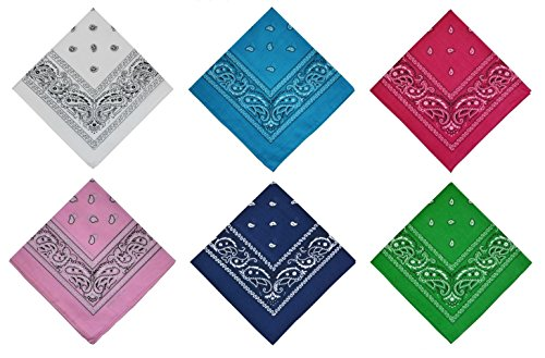 PURECITY Bandana Original Paisley Pure Coton Foulard Qualité Supérieure Unité - Lot de 6 - Lot de 12 - Dimensions 52 cm x 52 cm - Nouvelle collectio