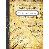 Cahier de Musique: Carnet de partitions - Papier manuscrit - 12 portées par page - 108 pages - Grand format - Couverture Vint