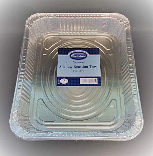 Essential Aluminium Disposable Shallow Roasting Tray 32 x 26 x 4cm Pack of 3
