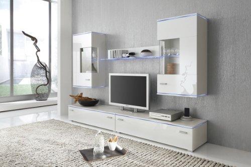 Wohnwand Anbauwand weiß, Fronten weiß hochglanz, optional LED-Beleuchtung, Beleuchtung:ohne Beleuchtung
