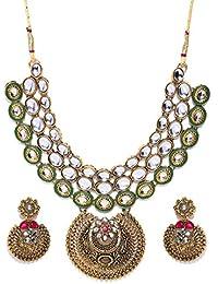 Zaveri Pearls Antique Gold Tone Finely Detailed Kundan Necklace Set For Women-ZPFK7248