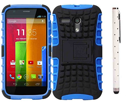 C63 Motorola Moto G (2013 scala) robusta cover a doppio strato Defender azzurro/nero