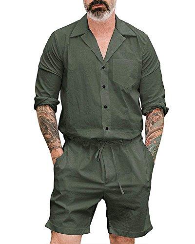 ORANDESIGNE Uomo Estate Jumpsuit Casual Manica Lunga Corta Salopette Pantaloncini con Bottoni Semplice Tuta da Lavoro Slim Fit Verde 3X-Large