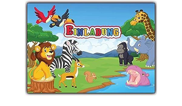 8 Einladungskarten Geburtstag Zoo Tiere Tierpark Kindergeburtstag Affe Zebra