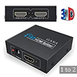 HDMI Splitter 1x2,GANA HDMI Splitter Switch con 1 Ingresso a 2 uscite Supporto 3D Full HD 1080P HDTV