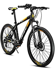 VTT Extrbici® Vélo électrique XF900 en Alliage d'Aluminium 17x26 Pouces Vélo Tout Terrain avec Dérailleur 24 Vitesses Vélo de Montagne 250W Panasonic Li-batterie au Lithium 36V-5.8A Shimano M310 Noir Jaune Cyrusher (Livraison Gratuite de L'Europe)