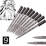 Taottao 2018New 9PCS nero micro-line penna per schizzo illustrazione ufficio disegno tecnico