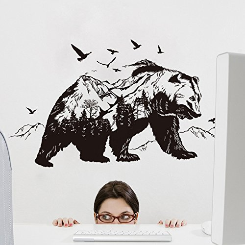 Etiqueta de la pared ZOZOSO [Oso Negro Montaña] Etiqueta de la pared Etiqueta de la pared removible Pvc Película transparente
