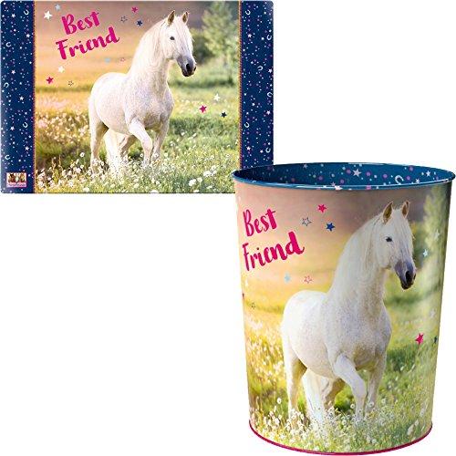 Spiegelburg Pferdefreunde 2er Set 14520 14567 Papierkorb + Schreibtischauflage