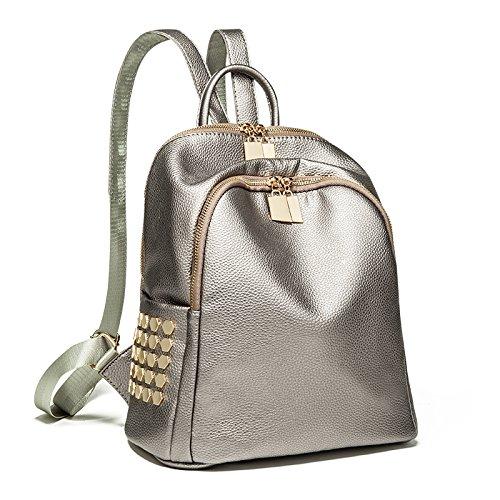 LiZhen elegante dual borse tracolla femmina versione coreana della nuova ondata di primavera ed estate tempo libero Ms. schoolbags zaino viaggio minimalista piccoli imballaggi, nero) La Banca di Champagne