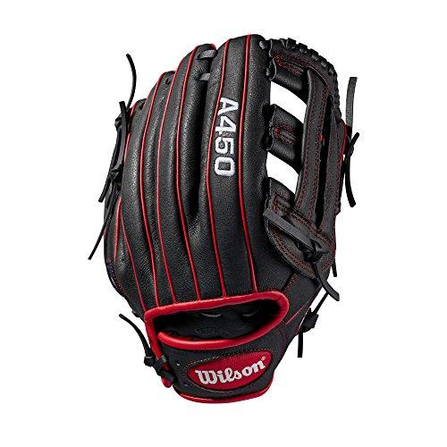 WILSON Sporting Goods 2019A450Baseball Handschuh-Rechte Hand Überwurf schwarz/rot, 27,9cm