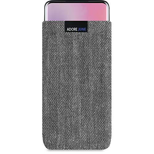 Adore June Business Tasche passend für OnePlus 7 Pro Handytasche aus charakteristischem Fischgrat Stoff - Grau/Schwarz | Schutztasche Zubehör mit Bildschirm Reinigungs-Effekt | Made in Europe