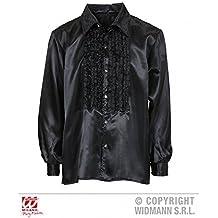 Camisa Con Volantes en negro/diskohemd/Camiseta Hombre/satinhemd/década de los 70 AÑOS Traje Talla XL