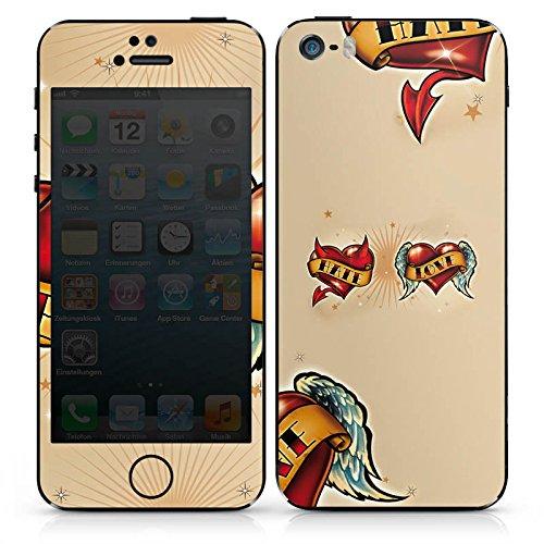 Apple iPhone 4s Case Skin Sticker aus Vinyl-Folie Aufkleber Liebe Hass Herz DesignSkins® glänzend